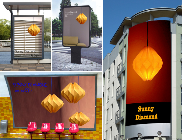 Origami lamp Sunny Diamond on billboards