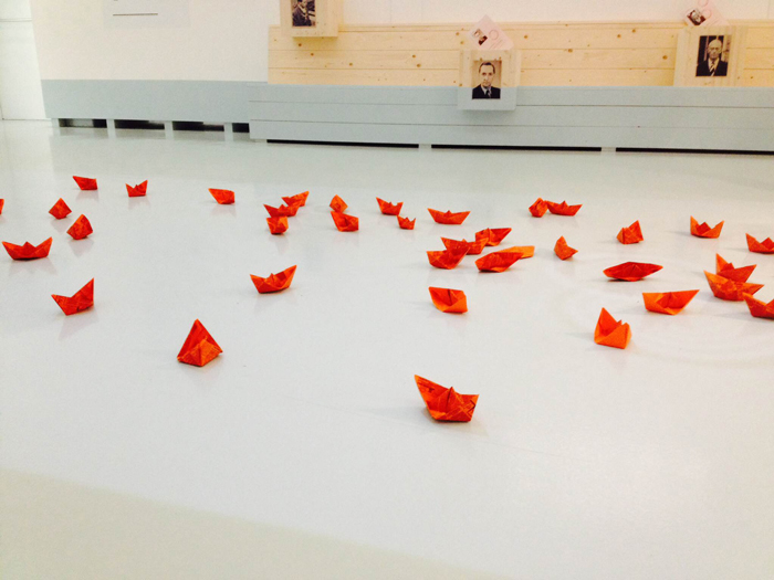 origami boats to commemorate victims of WOII